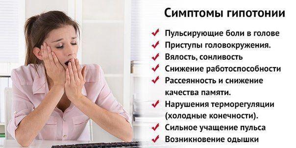 Симптомы, указывающие на снижение давления